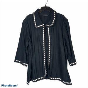 Ming Wang Black Open Front Jacket Size 3XL